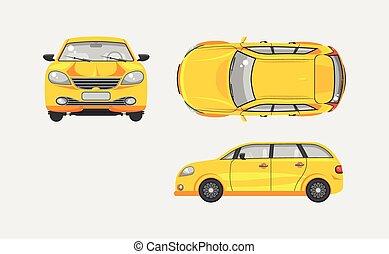 voiture, devant, sommet, côté, hayon, vue