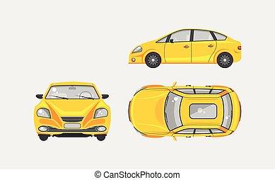 voiture, devant, sommet, sedan, vue côté