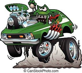 voiture drôle, années soixante-dix, tige, illustration, chaud, vecteur, vert, dessin animé