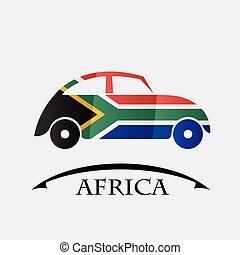 voiture, drapeau, fait, afrique, icône