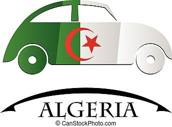 voiture, drapeau, fait, algérie, icône