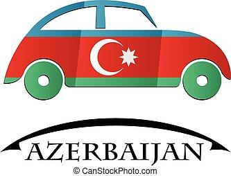 voiture, drapeau, fait, azerbaïdjan, icône