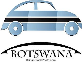 voiture, drapeau, fait, botswana, icône