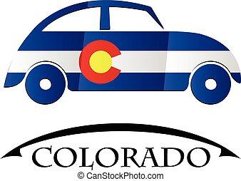 voiture, drapeau, fait, colorado, icône