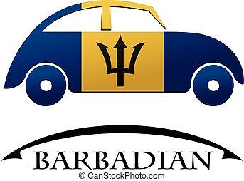 voiture, drapeau, fait, icône, barbadian