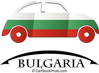 voiture, drapeau, fait, icône, bulgarie