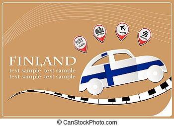 voiture, drapeau, fait, icône, finlande