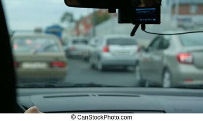 voiture, drivin, ville