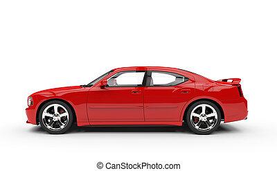 voiture, droit, rouges, jeûne, vue