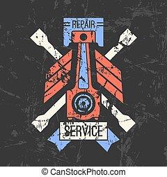 voiture, emblème, service, piston