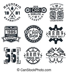 voiture, emblèmes, service, ensemble, militaire, sports