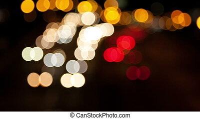 voiture, en mouvement, defocused, lumières