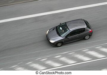 voiture, en mouvement, jeûne, route