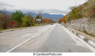 voiture, en mouvement, long, route, vue, scenics, asphalte