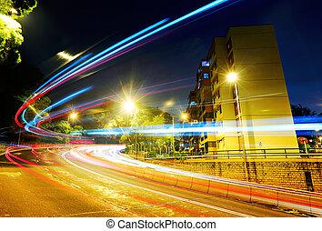 voiture, en mouvement, route, jeûne, lumière