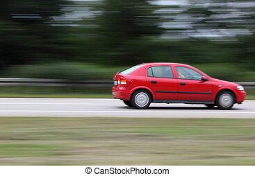 voiture, en mouvement, route