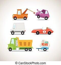 voiture, ensemble, 4, plat, icône