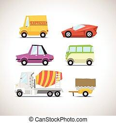 voiture, ensemble, 5, plat, icône