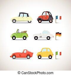 voiture, ensemble, 8, plat, icône