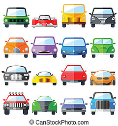 voiture, ensemble, icône