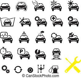 voiture, ensemble, icônes, service