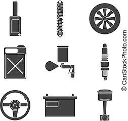 voiture, ensemble, plat, service, icône