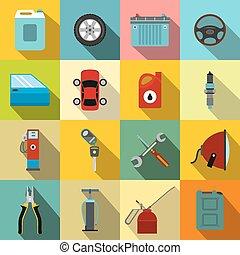 voiture, ensemble, service, entretien, icônes