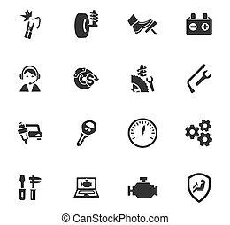 voiture, ensemble, service, icônes