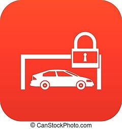 voiture, et, cadenas, icône, numérique, rouges