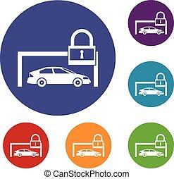 voiture, et, cadenas, icônes, ensemble