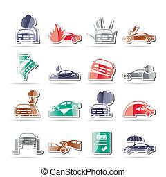 voiture transport assurance ensemble transport risque ic nes voiture illustration. Black Bedroom Furniture Sets. Home Design Ideas