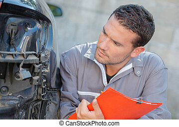 voiture, evaluer, mécanicien