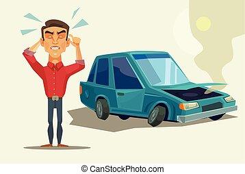 voiture, fâché, homme, cassé, bas.