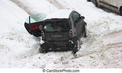voiture, fall., après, neige, collé