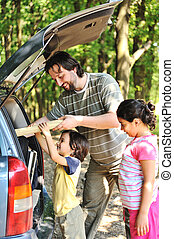 voiture, famille, nature