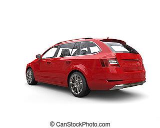 voiture famille, -, rouges, cramoisi, vue postérieure