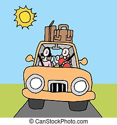 voiture, famille, voyage route