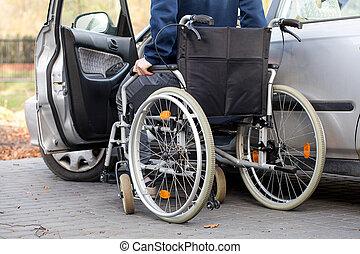 voiture, fauteuil roulant, chauffeur