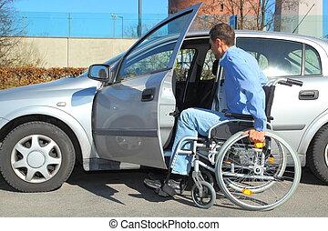 voiture, fauteuil roulant, utilisateur, obtenir