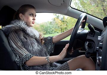 voiture, femme