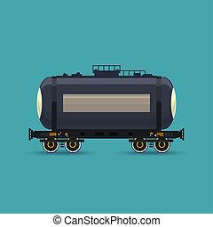 voiture, ferroviaire, réservoir, isolé