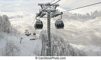voiture, ferroviaire, ski, câble, recours