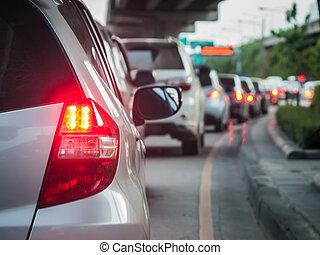 voiture, file, dans, les, mauvais, trafic, route