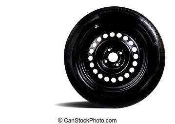 voiture, fond blanc, isolé, pneu