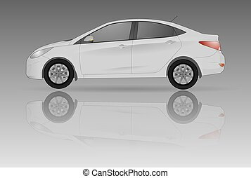 voiture, fond, gris, reflet