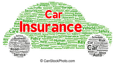 voiture, forme, mot, assurance, nuage