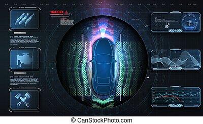 voiture, futuriste, hud, chauffeur, données, moderne, diagnostics., style, dagnostic, analysis., gui., assistance, matériel, conception, auto, hologramme, ui, service, systèmes, auto., balayage, concept
