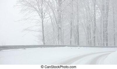 voiture, gagner, tempête neige, conduite, neige