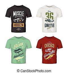 voiture, gangster, vecteur, t-shirt, classique, logo, vendange, haut, muscle, set., railler