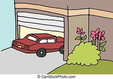 voiture, garage stationnement